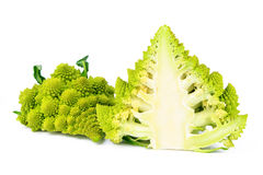 Romanesco broccoli cut in half, both sides Royalty Free Stock Images