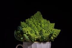 Romanesco broccoli på svart bakgrund arkivbild