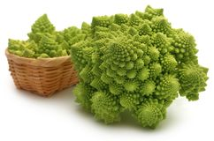 Romanesco broccoli. Over white background Royalty Free Stock Photos