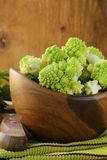 Romanesco cabbage  in a wooden bowl Stock Photography