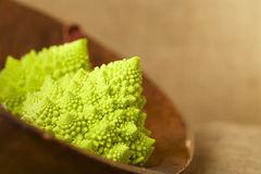 Romanesco Cauliflower broccoli in wooden bowl Royalty Free Stock Photo
