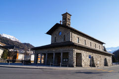 Romanesque εκκλησία StKarl, ST Moritz, Ελβετία Στοκ Εικόνα