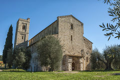 The Romanesque Abbey of Sant Antimo is a former Benedictine monastery in the comune of Montalcino Stock Photo