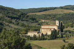 The Romanesque Abbey of Sant Antimo is a former Benedictine monastery in the comune of Montalcino Royalty Free Stock Photo