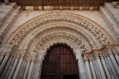 Romanesque archivolts. And voussoir detail from the collegiate church of the town of Toro in Zamora Spain Stock Photo