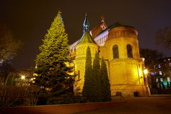 Romanesque brick Catholic church at night Royalty Free Stock Photography