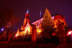 Romanesque brick Catholic church at night Stock Photography