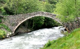 A romanesque bridge in Andorra Stock Photos