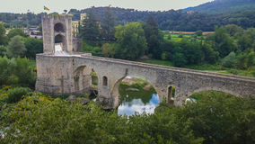 The romanesque bridge of Besalú Royalty Free Stock Photos