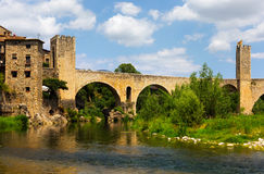 Romanesque bridge over Fluvia river in Besalu. Catalonia Royalty Free Stock Images