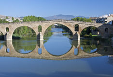 Romanesque bridge At Puente la Reina. Romanesque bridge At Puente la Reina, which runs the Camino de Santiago, eleventh century royalty free stock photo