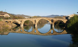 Romanesque bridge At Puente la Reina. Spain, UNESCO - the Pilgrim's Road to Santiago de Compostela stock images