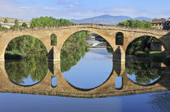 Romanesque bridge At Puente la Reina. UNESCO stock photo