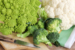 Romanesque, broccoli and cauliflower Royalty Free Stock Images