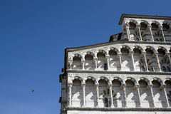 Romanesque cathedral facade of Lucca Royalty Free Stock Photography