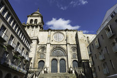 Romanesque cathedral of Ourense, Spain. Side view of the romanesque cathedral of Ourense in Galicia, Spain Stock Images