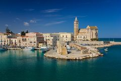The Cathedral. Trani. Apulia. Italy. The romanesque cathedral of saint Nicholas and Trieste square. Trani. Apulia. Italy royalty free stock photos