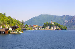 Romanesque chapel on the lake Stock Images
