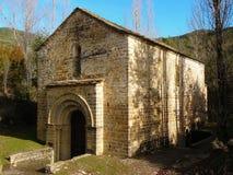 Romanesque chapel of San Adrian de Sasabe in Borau. Huesca Aragon Stock Photo
