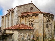 Romanesque church of Astureses in Galicia stock images