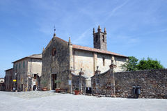 Romanesque church in Monteriggioni. Royalty Free Stock Image