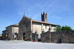 Romanesque church in Monteriggioni. Stock Photos