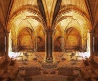 Romanesque cloister / Claustro Románico. Romanesque cloister in spanish Monastery Royalty Free Stock Photos