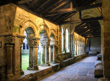 Romanesque cloister of Collegiata Santa Juliana stock photography