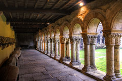 Romanesque cloister of Collegiata Santa Juliana stock photos