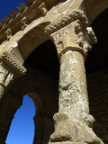 Romanesque column. Roamnesque column of an old church in spain Royalty Free Stock Images