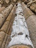 Romanesque column Platerias facade Royalty Free Stock Images