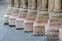 Romanesque columns feet Stock Photos