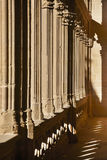 Romanesque columns with shadows at sunset in Navarra, Spain Royalty Free Stock Image