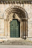 Romanesque construction of the twelfth century in Portomarin. Temple-fortress of the most original of Galicia. Spain stock images