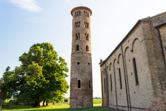 Romanesque cylindrical bell tower of countryside church Royalty Free Stock Photo