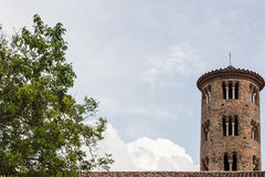 Romanesque cylindrical bell tower of countryside church Royalty Free Stock Photography