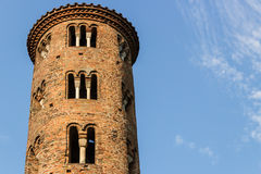 Romanesque cylindrical bell tower of countryside church Royalty Free Stock Images