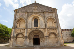 Romanesque facade. Full view of beautiful romanesque facade in Saintes Framce .Abbey aux Dames Stock Images
