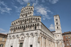 Romanesque facade of the San Michele in Foro, a Roman Catholic church in Lucca, Tuscany Stock Image