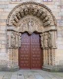 Romanesque facade of San Xerome college. In Compostela Stock Photography