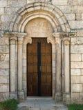 Romanesque facade of Santiago de Taboada church Stock Photos