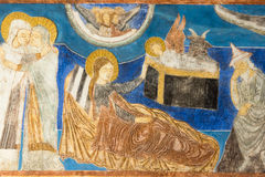 Romanesque freosco of the birth of Jesus Christ in the stable Royalty Free Stock Photo