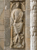 Romanesque King David in Platerias facade. In Compostela cathedral Stock Image