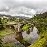 Romanesque. Medieval bridge, Alvoco das Varzeas, Portugal Royalty Free Stock Photo
