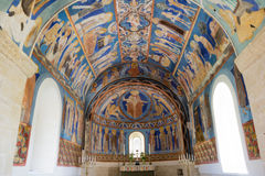 Romanesque paintings in Swedish church. Christ in majesty within mandorla. Bright blue colours Stock Photography