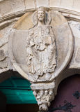 Romanesque pantocrator in Lugo cathedral. Facade Royalty Free Stock Image