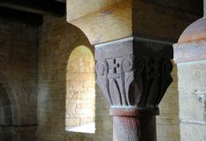 Romanesque pillar head Royalty Free Stock Photography