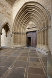 Romanesque portal of Santa Maria de Ujue sanctuary. Navarra, Spa Stock Photo