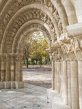Romanesque portico in the Park Stock Image