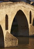 Romanesque stone bridge detail in Fuente la Reina. Navarra, Spai Royalty Free Stock Photography